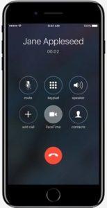 Экран при разговоре iPhone 8